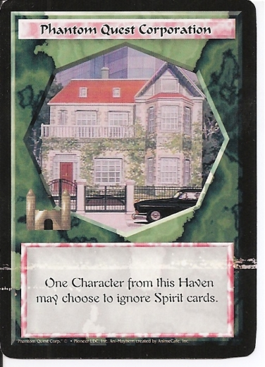 Misprinted Phantom Quest Corporation card, with two white lines through it.