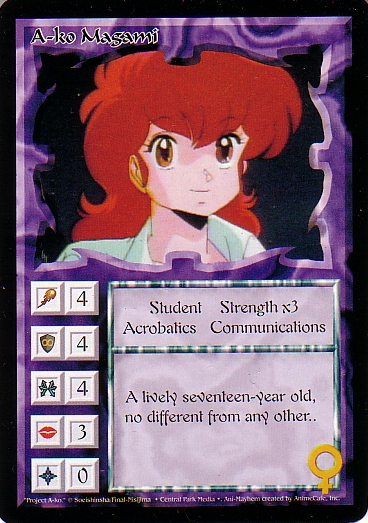 Misprinted A-ko Magami card, with a yellow run over her ear.