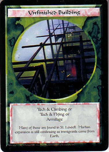 Misprinted Unfinished Building card, with a yellow run over the image.